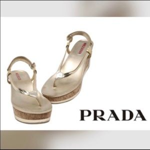PRADA NEW Gold Wedge Sandals in size 7
